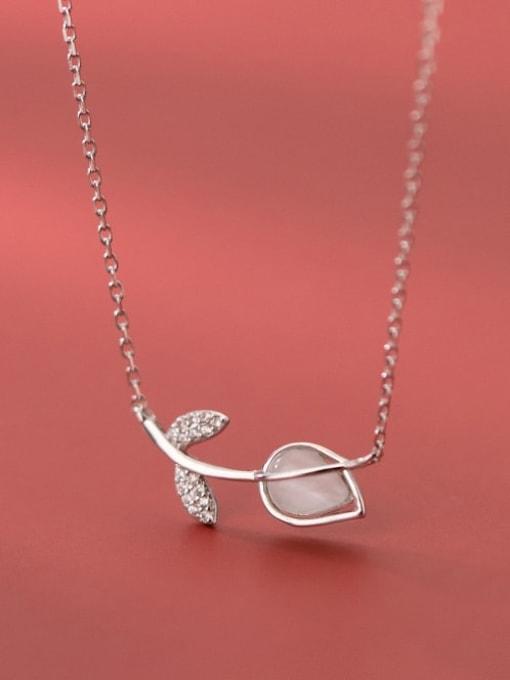 Rosh 925 Sterling Silver Cats Eye Flower Minimalist  pendant Necklace