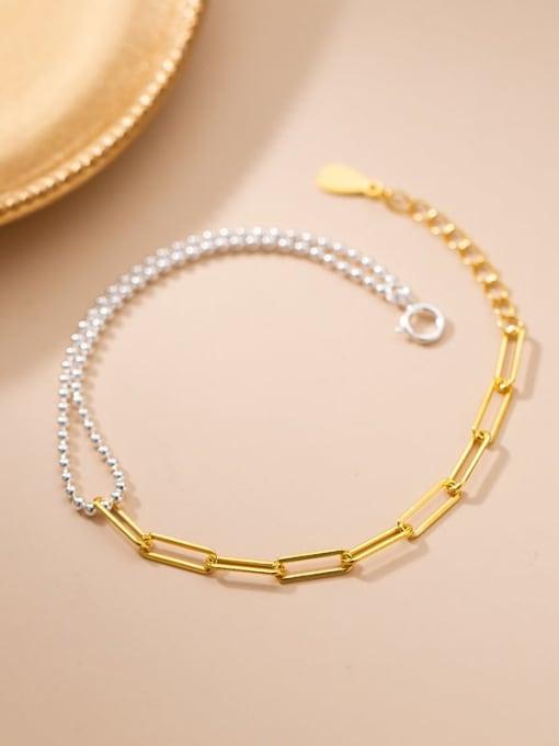 Rosh 925 Sterling Silver Asymmetric Smooth Bead Geometric Minimalist  Bracelet 0