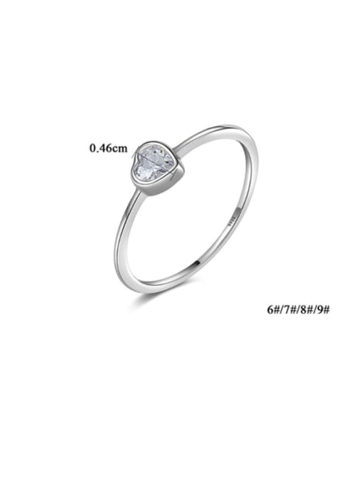 CCUI 925 Sterling Silver Cubic Zirconia Heart Minimalist Band Ring 2