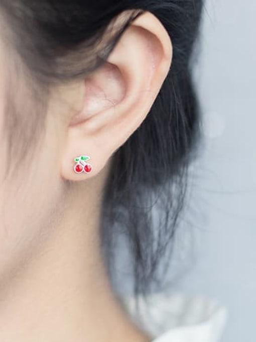 Rosh 925 Sterling Silver Enamel Friut Cute Stud Earring 1