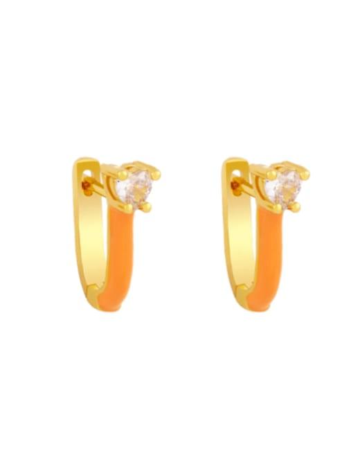 orange Brass Multi Color Enamel Heart Vintage Huggie Earring