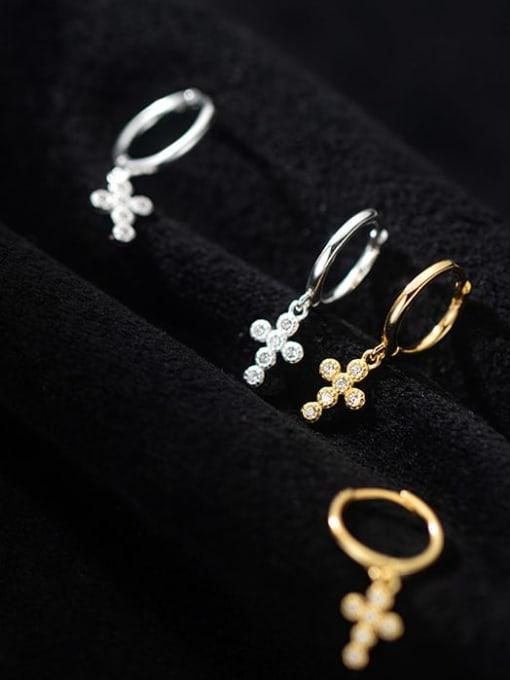 Rosh 925 Sterling Silver Cubic Zirconia Cross Minimalist Huggie Earring 0