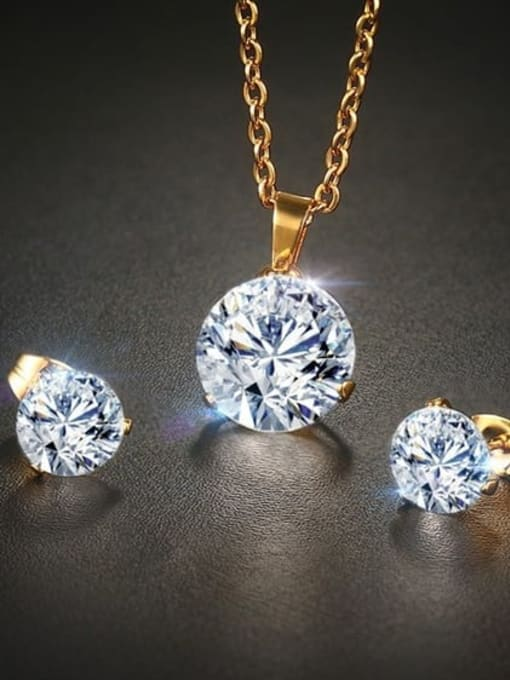 CONG Stainless steel Cubic Zirconia Minimalist Round  Earring and Necklace Set 2
