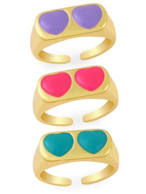 CC Brass Enamel Heart Minimalist Band Ring 0