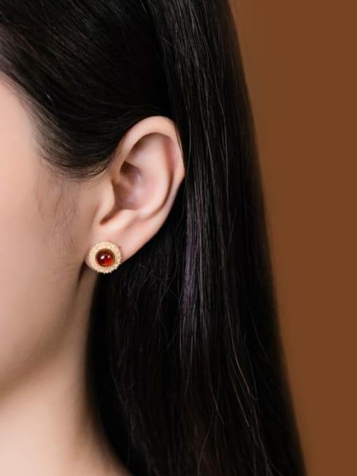 DEER 925 Sterling Silver Garnet Flower Cute Stud Earring 1