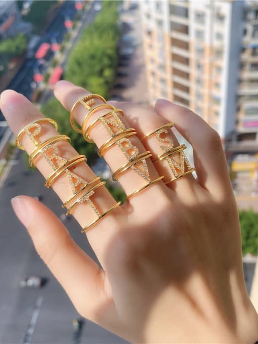 DUDU Brass Cubic Zirconia Letter Minimalist Stackable Ring 1