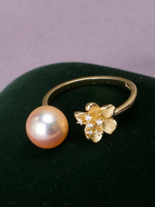RAIN Brass Freshwater Pearl Flower Vintage Band Ring 2