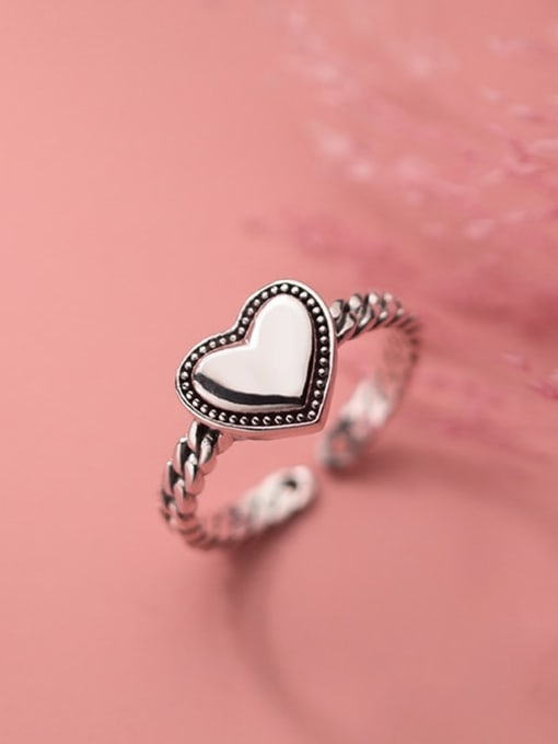 Rosh 925 Sterling Silver Heart Vintage Band Ring 2