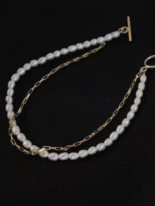 LI MUMU Titanium Steel Imitation Pearl Geometric Vintage Strand Bracelet 3