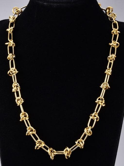 A TEEM Titanium Steel Hollow Geometric Vintage Necklace
