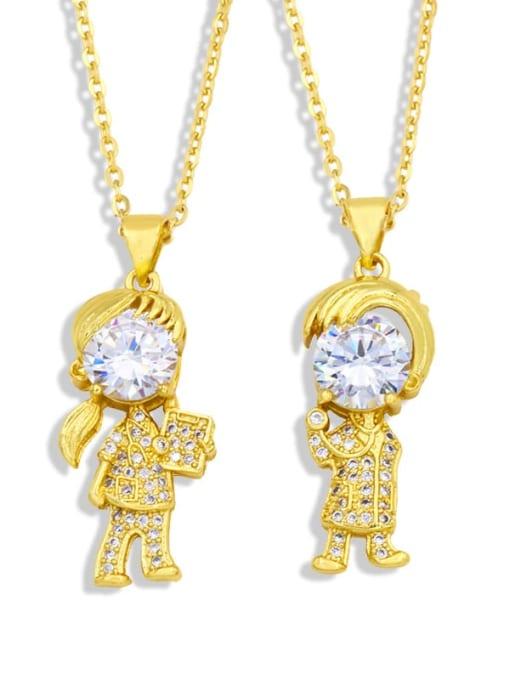 CC Brass Cubic Zirconia Ange girl boy  Minimalist Necklace
