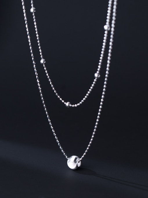 Rosh 925 Sterling Silver Bead Round Minimalist Multi Strand Necklace 0