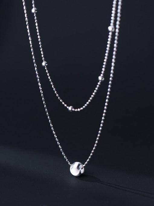 Rosh 925 Sterling Silver Bead Round Minimalist Multi Strand Necklace