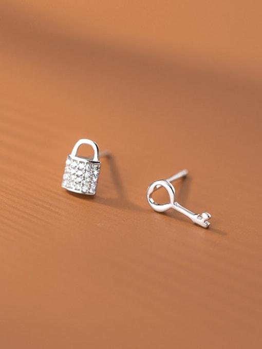 Rosh 925 Sterling Silver Cubic Zirconia Key Cute Stud Earring 2