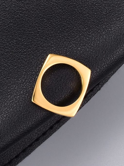 A TEEM Titanium Steel Hollow Round Minimalist Band Ring 0