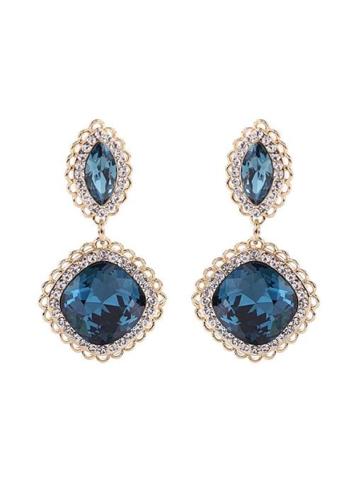 Luxu Brass Cubic Zirconia Geometric Vintage Drop Earring 2