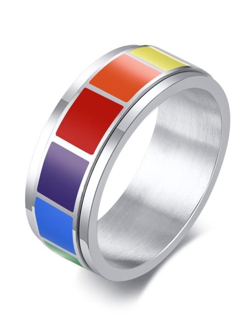 CONG Titanium Steel Enamel Round Minimalist Band Ring
