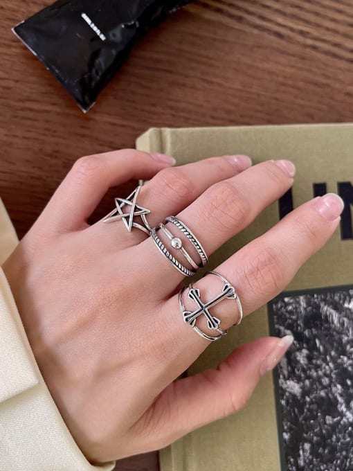 Boomer Cat 925 Sterling Silver Cross Minimalist Band Ring 2