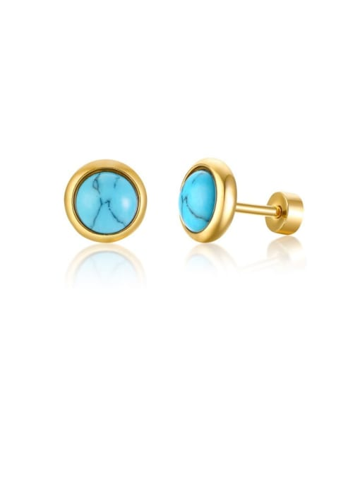 Style 4 Stainless steel Turquoise Round Vintage Stud Earring
