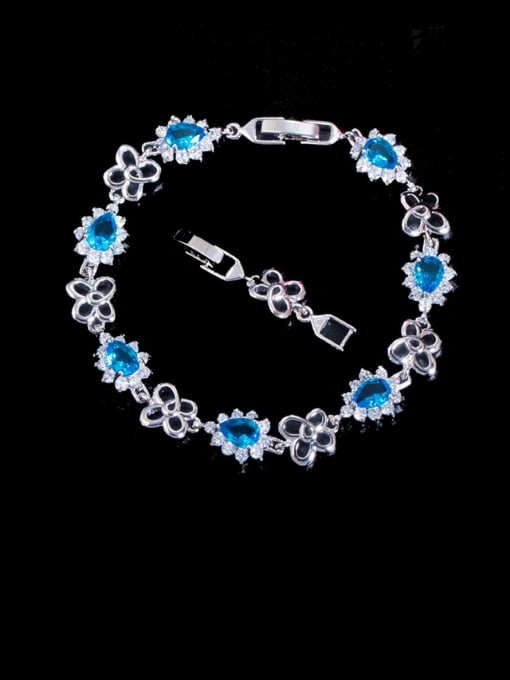 L.WIN Brass Cubic Zirconia Flower Luxury Bracelet 1