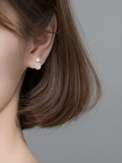 Rosh 925 Sterling Silver Cubic Zirconia Water Drop Minimalist Stud Earring 1
