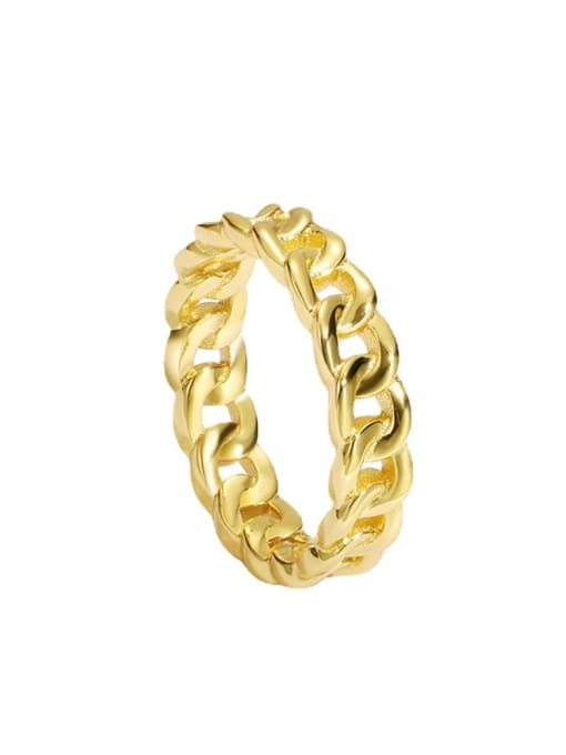 CHARME Brass Hollow Geometric Chain Vintage Band Ring 3