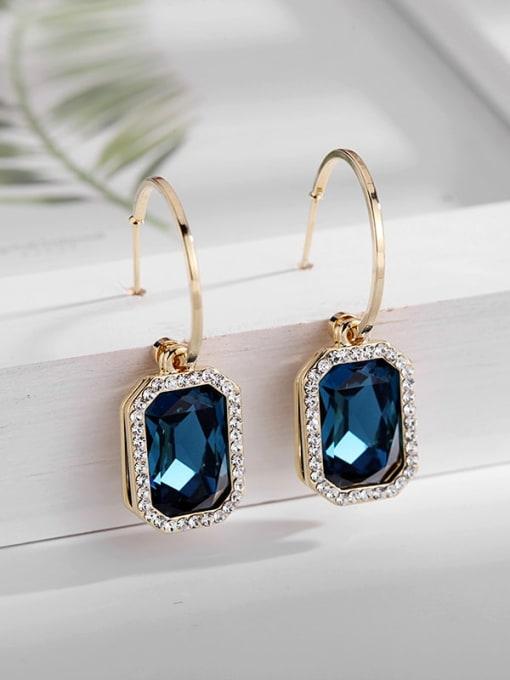 Blue Crystal Brass Cubic Zirconia Geometric Trend Hook Earring