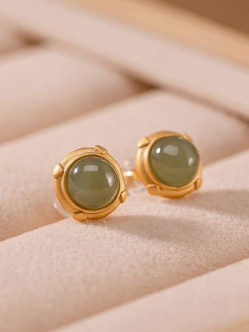 DEER 925 Sterling Silver Jade Round Minimalist Stud Earring 2