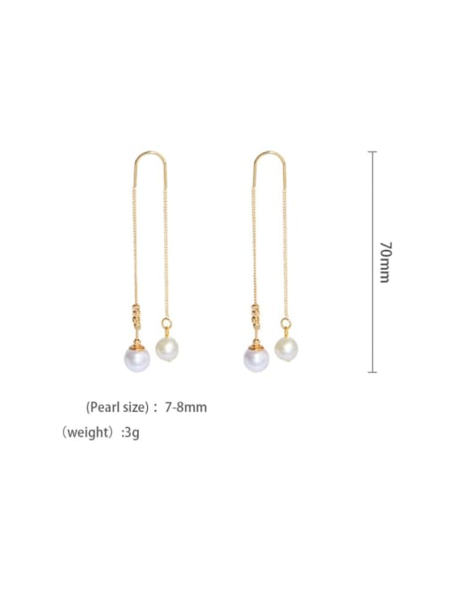 gold Brass Freshwater Pearl Tassel Minimalist Threader Earring