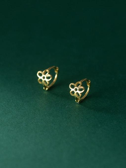 Rosh 925 Sterling Silver Hollow Flower Minimalist Stud Earring