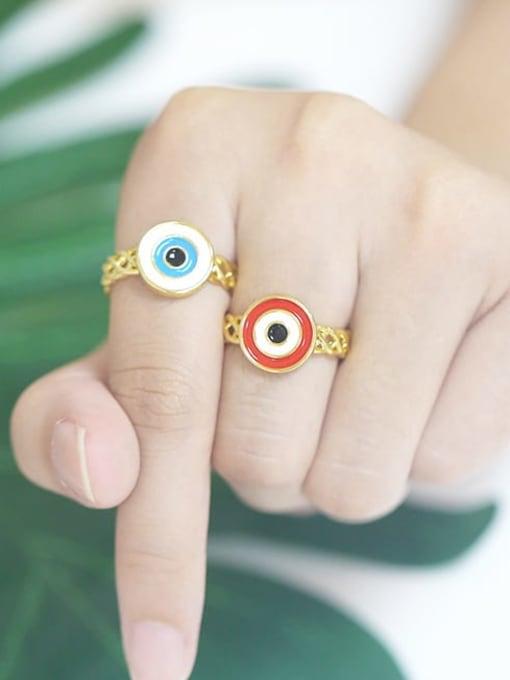 CC Brass Enamel Evil Eye Vintage Band Ring 1