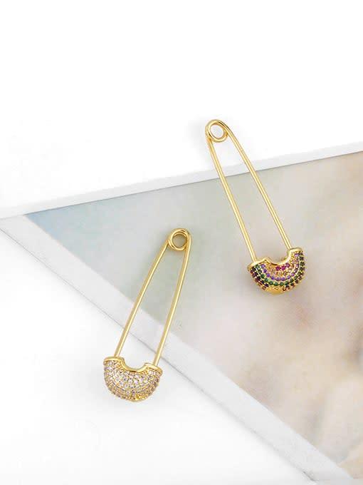 CC Brass Cubic Zirconia Geometric Pin Hip Hop Huggie Earring 3