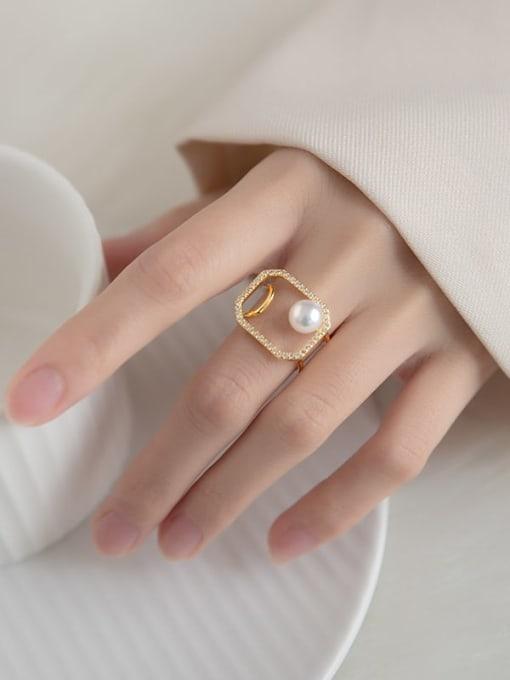 Rosh 925 Sterling Silver Imitation Pearl Geometric Minimalist Band Ring 1