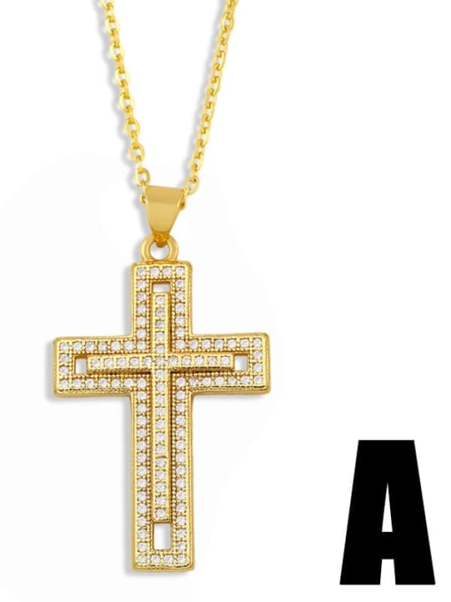 nkt41 A Brass Cubic Zirconia Cross Vintage Regligious Necklace