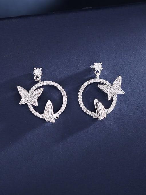 platinum Brass Cubic Zirconia Butterfly Luxury Stud Earring