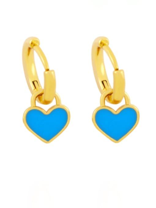 blue Brass Enamel Heart Minimalist Huggie Earring