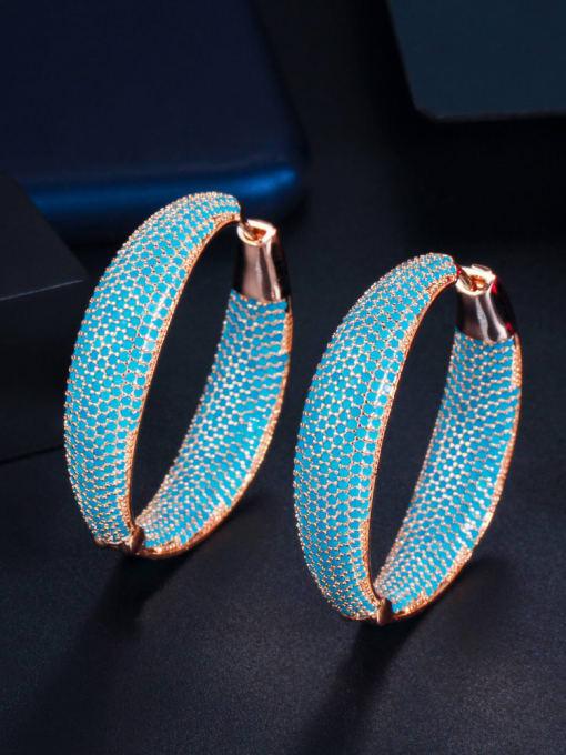 blue Brass Cubic Zirconia Geometric Vintage Hoop Earring