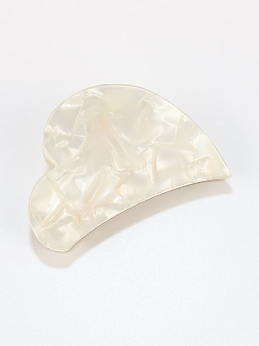 Rice white Cellulose Acetate Minimalist Heart Zinc Alloy Jaw Hair Claw