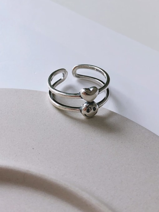 Boomer Cat 925 Sterling Silver Smiley Minimalist Stackable Ring 2