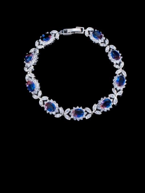 L.WIN Brass Cubic Zirconia Oval Luxury Bracelet 2