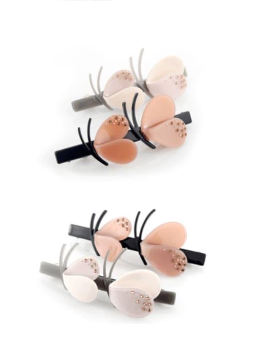 HUIYI Cellulose Acetate Cute Flower Zinc Alloy Spring clip Hair Barrette 0