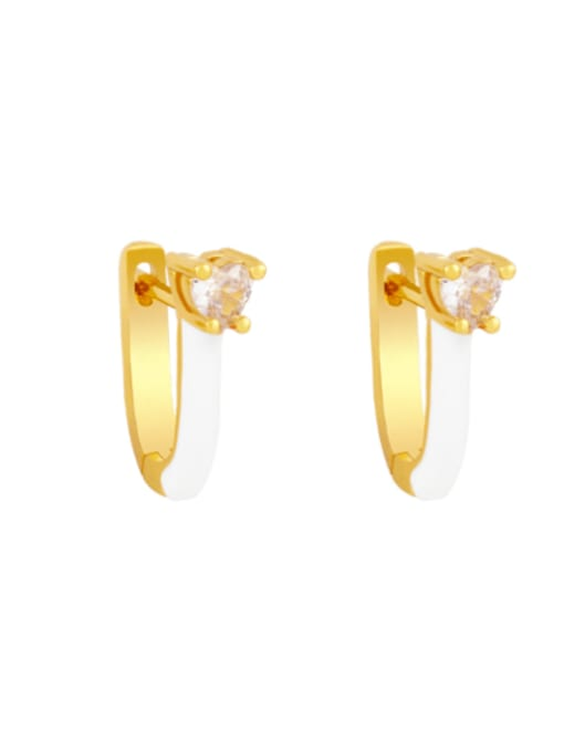 white Brass Multi Color Enamel Heart Vintage Huggie Earring