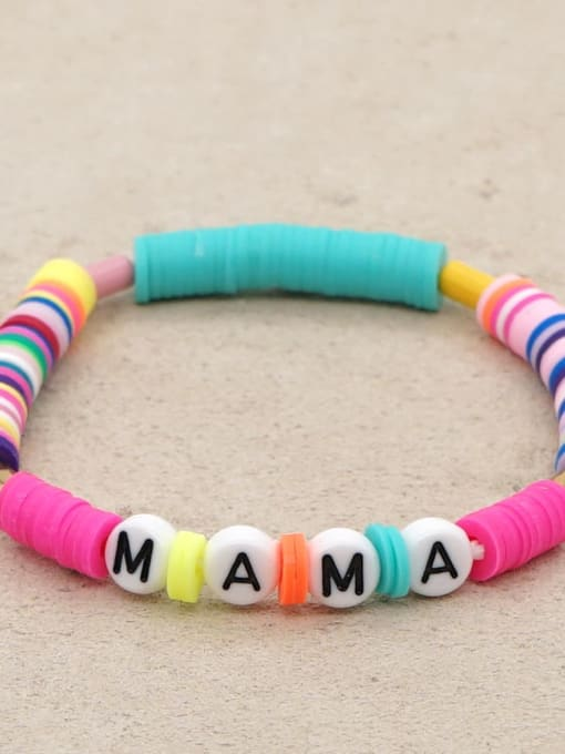 QT B200011T Stainless steel Multi Color Polymer Clay Letter Bohemia Stretch Bracelet