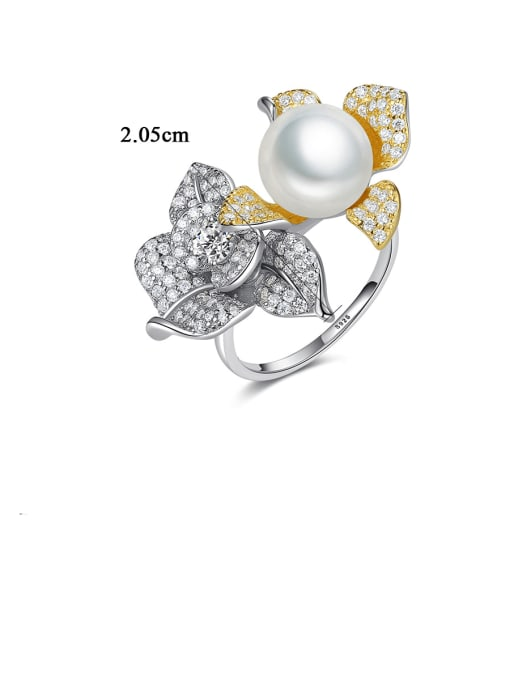 CCUI 925 Sterling Silver Cubic Zirconia Flower Luxury Band Ring 0