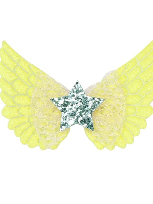 7 fluorescent yellow Alloy  Silk Cute Butterfly Multi Color Hair Barrette
