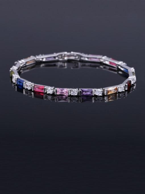Colorful 17.5+ 2.2cm Brass Cubic Zirconia Geometric Classic Bracelet