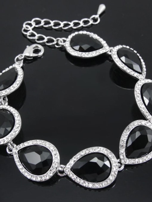 Silver Black Brass Glass Stone Water Drop Luxury Bracelet