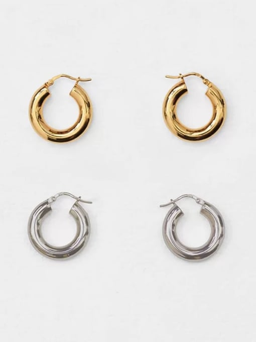 LI MUMU Titanium Steel Hoop Minimalist Hoop Earring for two colors 0