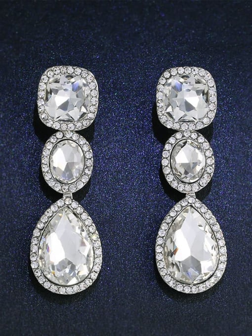 CC Alloy Glass Stone Water Drop Bohemia Cluster Earring 4