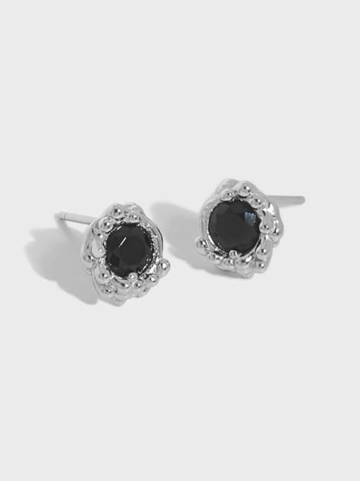 DAKA 925 Sterling Silver Cubic Zirconia Geometric Hip Hop Stud Earring 1